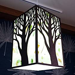handmade wall hanging with paper lamp