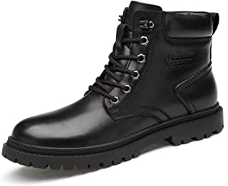 XueQing Pan Casual Ankle Boot for Men Work Boot Lace up Genuine Leather Contrast Collar Round Toe Stitching Non-Slip (Fleece Lined Optional) (Color : Black, Size : 7.5 UK)