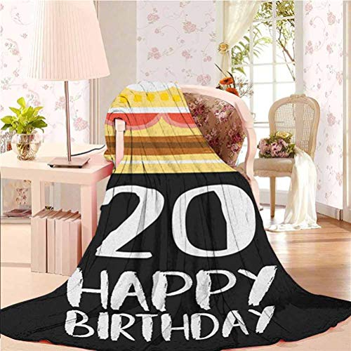 alisoso 40' W x 50' L 20th Birthday Microfiber Throw Blanket Comfortable and Warm Beach Blanket Vintage Cartoon Style Delicious Looking Party Cake with Candles on Black Multicolor