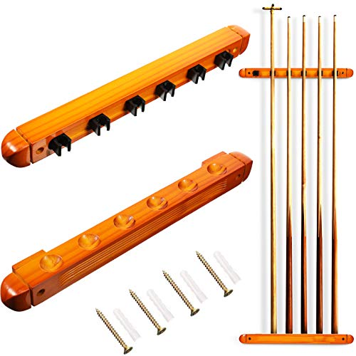 Skylety 2 Pieces Billiard Cue Rack Wall Mounted 6 Pool Stick Holder with 6 Cue Clips Wooden Billiard Pool Cue Accessories for Game Room Pool Bars Clubs Billiard Players