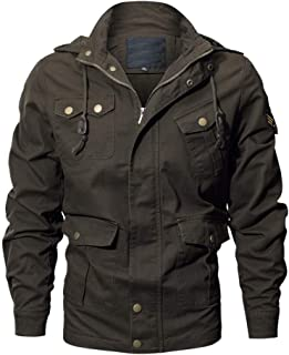 OPTIMIS Men's Casual Cotton Military Jacket Stand Collar Lightweight Slim Bomber Jacket Windbreaker