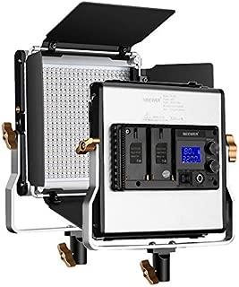 Neewer 480 LED luz Ajustable Bicolor y Montaje en U, construcción de Metal Duradero con Pantalla LCD 3200 – 5600 K CRI 96 + LED Panel y Corte de Flujo para fotografía, Estudio y vídeo