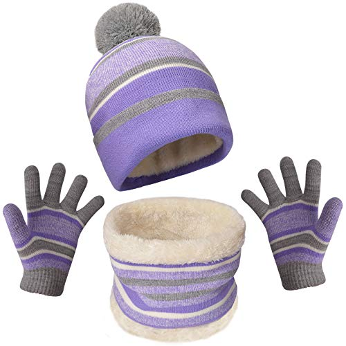 Kids Girls Hat Scarf and Gloves Set for 3-6 Years Old, Winter Warm Knit Toddler Beanies with Pompom for Girl, Purple Strip