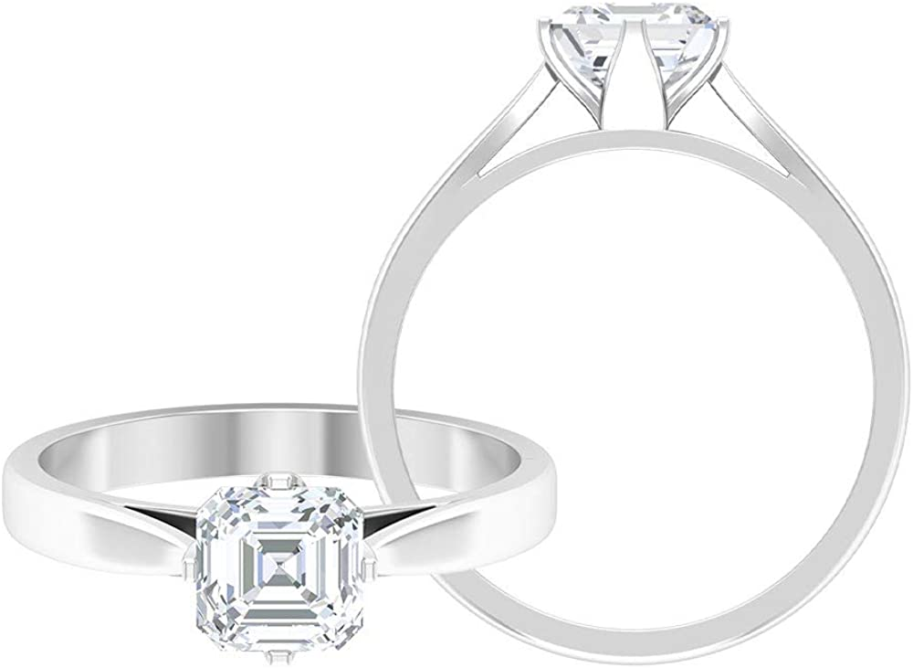 1.00 CT D-VSSI Asscher Moissanite Halo Engagement Rings, Wedding Rings Set, Solitaire Moissanite Bridal Rings, Classic Anniversary Statement Rings, 14K Gold
