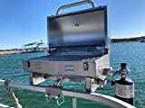 Boat Grill for Pontoon Boats Stainless Steel Adjustable Railing Mount - Fits 1 1/4″ Square Rail