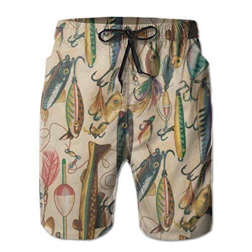 YongColer Men's Fishing Lure Style Short Swim Trunks Best Board Shorts for Sports Running Swimming Beach Surfing Quick Dry Breathable Bathing Suits Beach Holiday Party Swim Shorts(M)