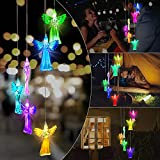 AUSHEN Solar Wind Chimes for Outside, Angel Wind Chimes Changing Colors Crystal Hanging LED Lights for Yard Porch Garden Home Party Waterproof and Energy Saving