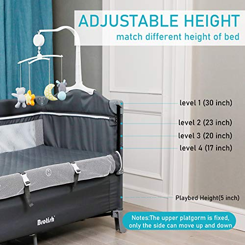 BANIROMAY 5 in 1 Baby Bassinet Bedside Sleeper, Adjustable Height, Portable Travel Baby Crib Diaper Change Table for Newborn Girls Boys