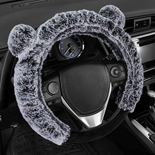 BDK Bear Fur Plush Steering Wheel Cover - Cute Faux Wool Protector for...