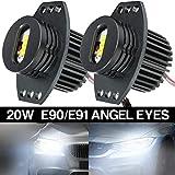 20W LED Faros Angel Eyes Halo Anillo Bombillas CANBUS No hay error 6000K para 3 Series E90...