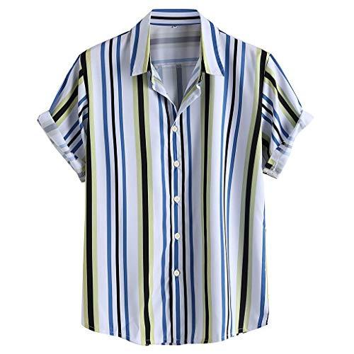 Camisas Hawaianas Hombre Manga Corta 2020 SHOBDW Playa de Verano Camisas Hombres A Rayas Slim Fit Cuello de Solapa Camisas Hombres Baratas Tallas Grandes Transpirable Blouse Tops