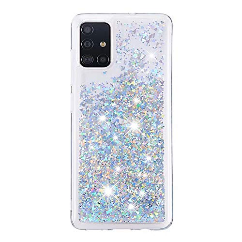 Veapero Kompatibel für Hülle Samsung Galaxy Note 10 Lite/Samsung A81 Hülle,Quicksand Glitzer Mode kreatives Design Fließende Flüssigkeit schwimmt Funkeln Hülle transparent,Silber