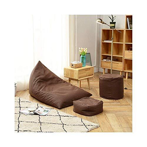 Tragbares Sofa Sofastuhl Einfache Tatami Sitzsack Einzelgewebe Lazy Sofa Schlafzimmer Wohnzimmer Balkon Bequemer Freizeitstuhl Mit Fußstütze 130 × 90 cm (Farbe: Braun)