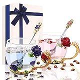 Taza de té de cristal de 330 ml, taza de café con cuchara de acero personalizada, flores 3D, regalo para mujeres, Navidad, día de la madre, día de San Valentín (Red and Blue)