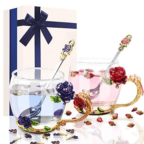 Papa Mutter Geschenk Glas Teetasse 330ml, Tasse Kaffeetassen mit Stahllöffel personalisiert, Blumen 3D Rose Teetasse, Geschenke für Männer Frauen Weihnachten Vatertag Valentinstag (Rot and Blau)