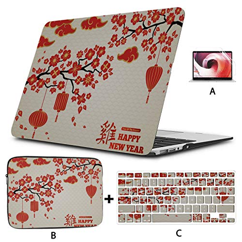 Mac Computer Case Colorful Chinese Red Lantern Macbook Pro Computer Case Hard Shell Mac Air 11'/13' Pro 13'/15'/16' With Notebook Sleeve Bag For Macbook 2008-2020 Version
