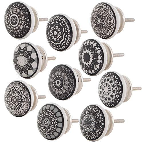 Knober Set 10 Stück Möbelknöpf Keramik Mandala Energy Shabby-Chic Schrankknöpfe Türgriff (6. Schwarz-Weiß Set 10 Stück)