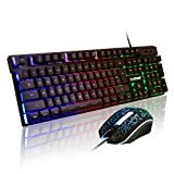 FLAGPOWER Gaming Keyboard and Mouse Combo, Rainbow Backlit Mechanical Feeling...