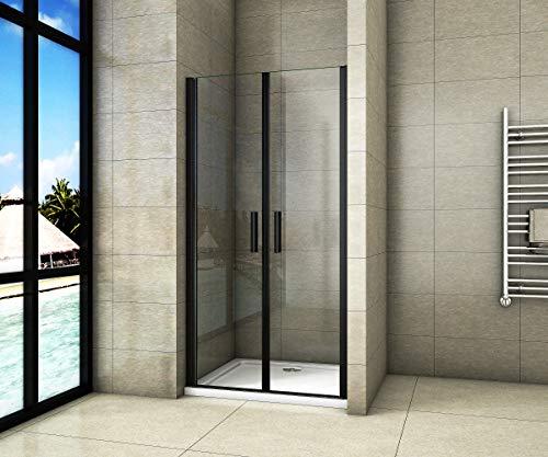Aica Sanitär 80x200cm Duschtür Nischentür Duschabtrennung Doppeltür aus 8mm Sicherheitsglas mit Nanobeschichtung Schwarz