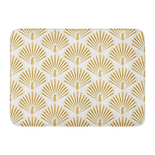 SUPERQIAO Tapis de Bain paillassons Tapis de Porte extérieur/intérieur Motif de Paon doré dans Gatsby Artdeco Graphique Noir rétro Salle de Bain Decor Tapis Tapis de Bain