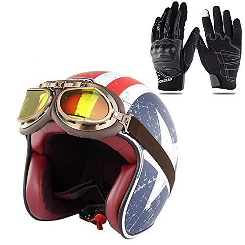 Xwenx Casco de motocicleta 3/4, aprobado por el DOT, casco de motocicleta, casco de motocicleta, casco unisex para adultos, casco abierto (gafas de regalo y guantes), XL