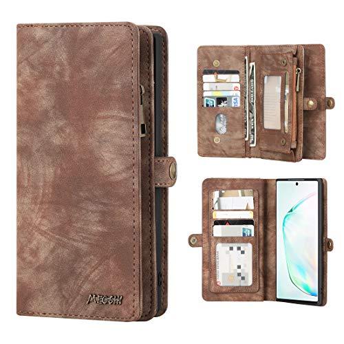 Galaxy Note 10 Plus Hülle Brieftasche Handyhülle Abnehmbar Multifunktional Leder Folio Flip Kartenfach Wallet Schutzhülle Tasche Hülle Cover Für Samsung Galaxy Note 10 Plus/Note 10+/5G,Braun