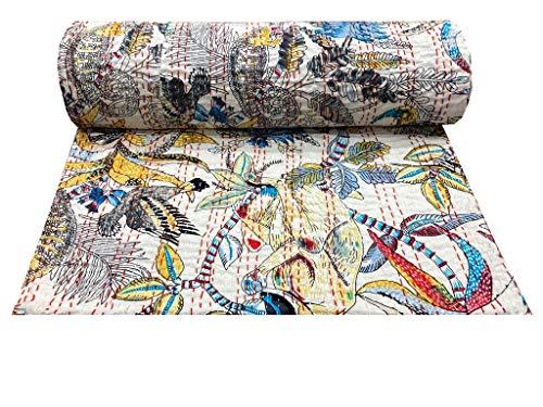Kantha - Colcha india bohemia, reversible, color blanco, manta decorativa, con costuras