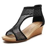 Sandalias Zapatos para Mujer Verano All-Match Cómodo Zapatos de Malla Casual de Espeso Tacones de cuña con Cremallera Correa de Tobillo de Cremallera.-Negro_42