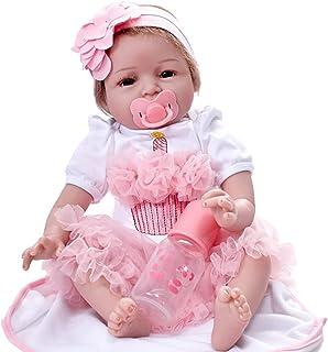 7d8550bc6ff8f Beautyjourney PoupéE Enfant Bebe Reborn Silicone Realiste Cadeau Enfant  Fille BéBé PoupéE RenaîTre 55cm Nouveau-