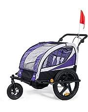 SAMAX Remolque de Bicicleta para Niños 360° girable Kit de Footing Transportín Silla Cochecito Carro Suspensíon Infantil Carro en Púrpura - Silver Frame