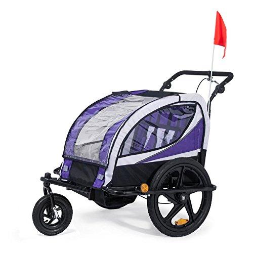 SAMAX Fahrradanhänger Jogger 2in1 360° drehbar Kinderanhänger Kinderfahrradanhänger Transportwagen vollgefederte Hinterachse für 2 Kinder in Lila - Black Frame