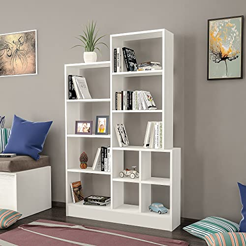 Homemania Libreria Monde, Legno, Bianco, 102,2 x 22 x 160,8 cm