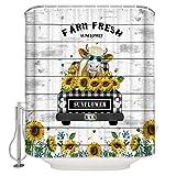 N\A Home USA Kuh Sonnenblumen Duschvorhang, wasserdichter Badvorhang aus Polyestergewebe mit Haken für Badezimmer, Badewanne Dekoration Holz Vintage Zoll