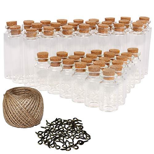 Mini Botellas de Vidrio con tapón de corcho (50 Pcs) - 25x7ml and 25x20ml con 30 metros Twine and 50 Screw Eye Pins para arte y manualidades decorativas, Bricolaje