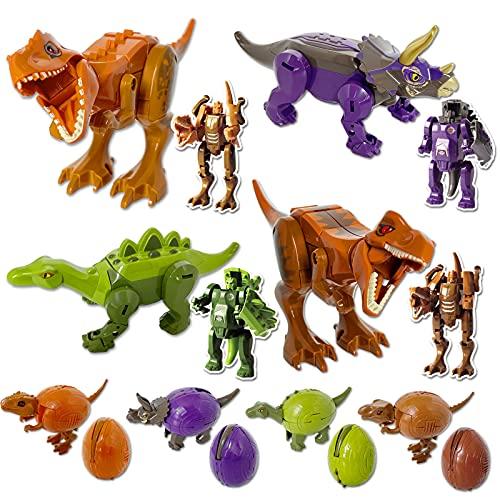 JUMEI 8PCS Dinosaur Transforming Toys,Dinosaur Robot Transforming Toys,Transformed Dinosaurs,Dino...