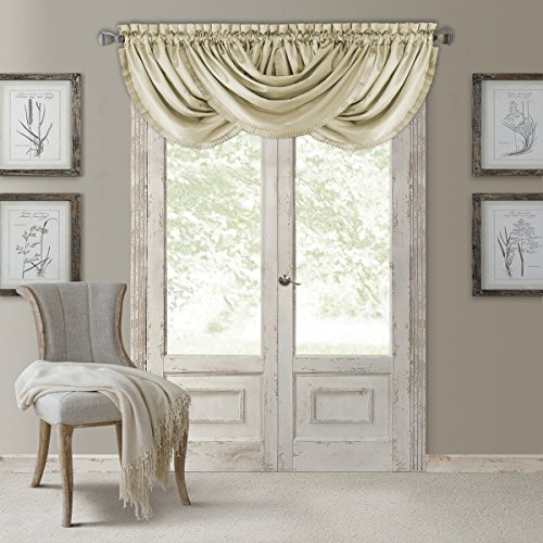 "Elrene Home Fashions Versailles Faux Silk Room Darkening Rod Pocket Pleated Solid Waterfall Window Valance, 52"" x 36"" (1, Ivory"