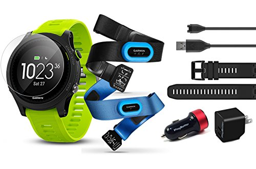 Garmin Forerunner 935 (Tri-Bundle) Power Bundle | Includes HRM Tri & Swim Chest Straps, HD Screen Protector Film (x4), Extra Silicone Band, PlayBetter USB Car/Wall Adapters | GPS Training Watch
