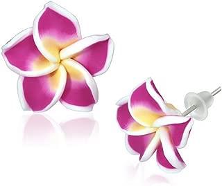 Fashion Alloy Polymer Clay Purple Violet Hawaiian Flowers Stud Earrings