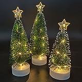 YQYAZL Árbol de Navidad artificial preiluminado, 3 unidades, árbol de Navidad verde iluminado con 10 luces LED, funciona con pilas, impermeable, para decoración de fiesta en casa, oficina