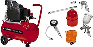 Einhell TC-AC 190/24 - Compresor, depósito de 24 l, 2850 rpm, 8 bar, 1500 W, 220 V, color rojo y negro (ref. 4007325) & Ki...