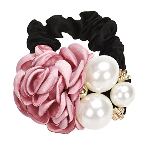 Covermason Perles Perles Rose fleur cheveux bande corde chouchou Ponytail titulaire (Rose)