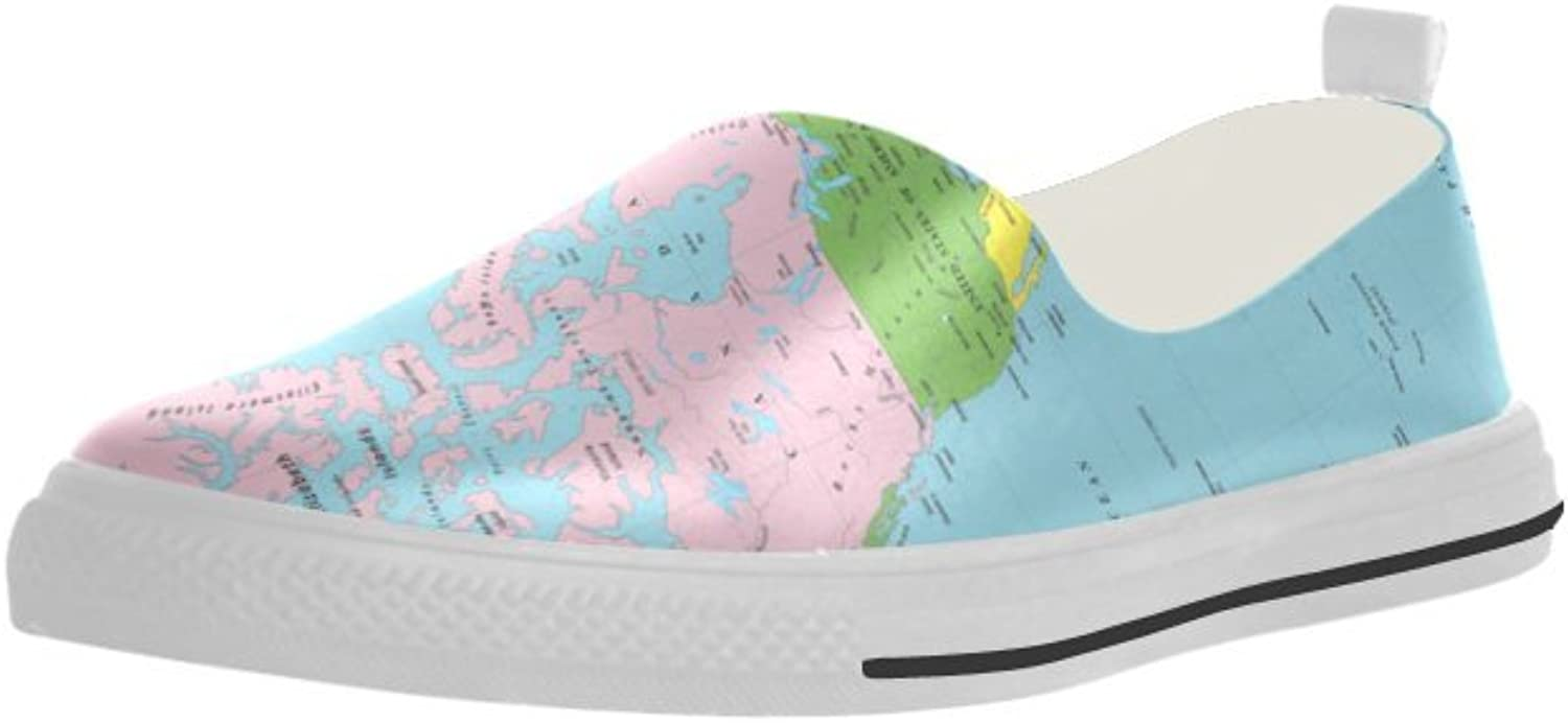 HUANGDAISY World Map Slip-on Microfiber Rubber Out-Sole EVA Insole shoes for Womens