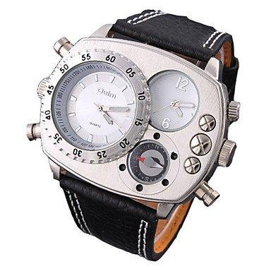FENKOO Doppelbewegung Doppelzeitzone elektronischen Kompass Dekoration Leder-Quarz-Uhren Herren Uhren