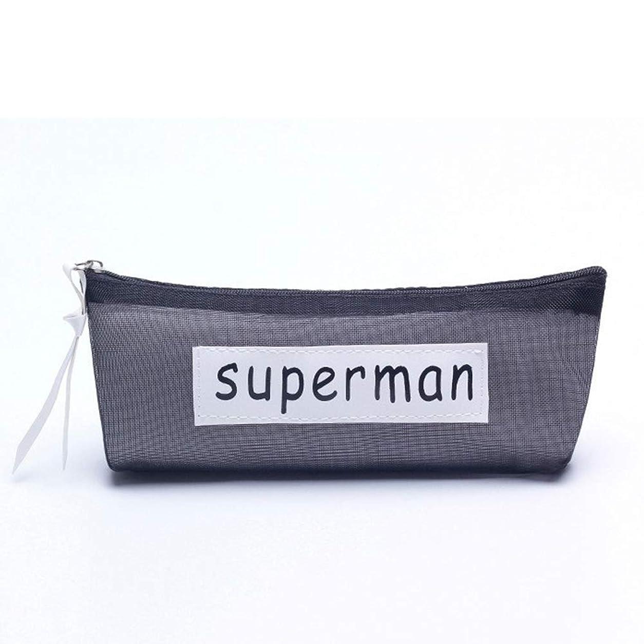 鈍いボール晴れACHICOO ペンケース 透明 メッシュ シンプル 学生 化粧品バッグ スーパーマン