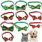 WELLXUNK® Collar de Navidad Perro, Pajarita de Mascotas de Navidad, Collar de Navidad para Mascotas, Pajarita Navideña, Collares Ajustable con Lacitos Navideños para Cachorro y Gatit