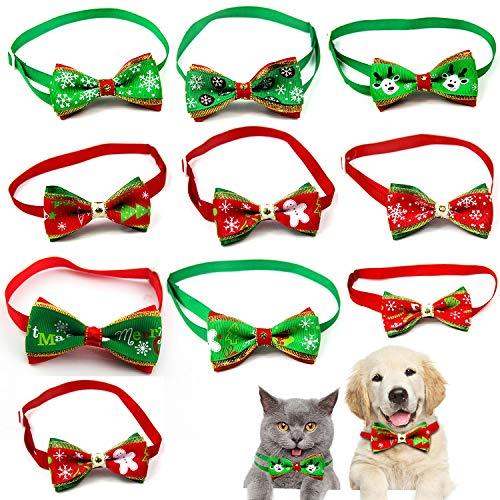 WELLXUNK Collar de Navidad Perro, Pajarita de Mascotas de Navidad, Collar de Navidad para Mascotas, Pajarita Navideña, Collares Ajustable con Lacitos Navideños para Cachorro y Gatit