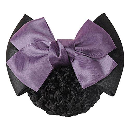 Gemini _ Mall® Noir Bowknot Décor Snood Net Barrette Pince à Cheveux Chignon Housse
