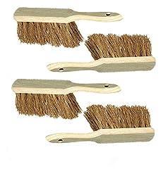 4 Stück Holzhandfeger mit Kokosborsten
