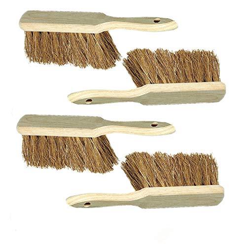4 Stück Holzhandfeger mit Kokosborsten, strapazierfähig Besen, Holz Lange Borsten