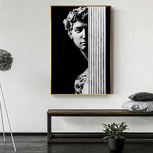 wZUN Cartel de Escultura Retro Pintura de Lienzo en Blanco y Negro Mural Decorativo nórdico Pintura de Pared de Sala de Estar 60x90 Sin Marco